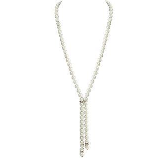 Ewige Sammlung Sloane White South Sea Shell Perle Lariat Silberfarbe Halskette