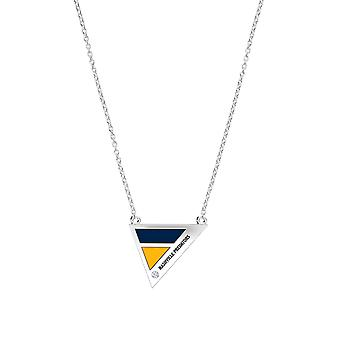 Nashville Predators Engraved Sterling Silver Diamond Geometric Necklace In Blue and Yellow