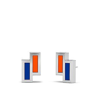 Sam Houston State University Sterling Silver Asymmetric Enamel Stud Earrings In Orange and Blue
