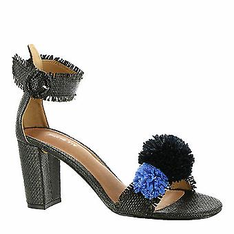 All Black Womens Raffia Pom Leather Open Toe Ankle Strap Classic Pumps