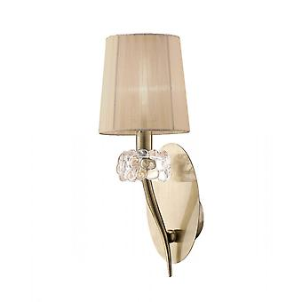 Mantra M4635AB/S Loewe Wall Lamp Switched 1 Light E14, Antique Brass With Soft Bronze Shade