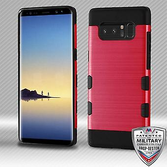 MYBAT Red/Black Brushed TUFF Trooper Hybrid Protector Cover pour Galaxy Note 8