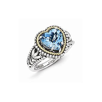 925 Sterling Silver With 14k Antiqued Blue Topaz Heart Ring - Ring Size: 7 to 8