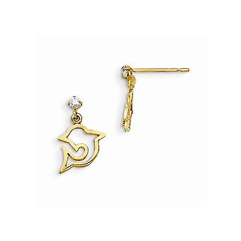 14k Yellow Gold Madi K CZ Cubic Zirconia Simulated Diamond for boys or girls Dolphin Dangle Post Earrings