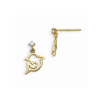 14K amarelo ouro Madi K Zirconia cúbico para meninos ou meninas golfinho Dangle Post brincos