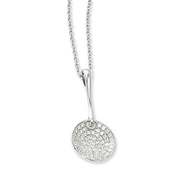 925 plata esterlina Rhodium plateado langosta garra cierre y CZ Circonión cúbica simulado diamante pulido círculo collar collar