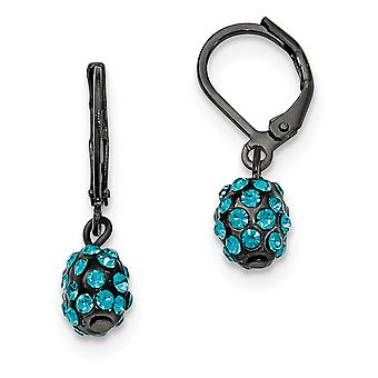 Black plated Teal Crystal Fireball Leverback Earrings Measures 28x7mm Wide Jewelry Gifts for Women