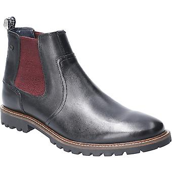 Base London Mens Wilkes waxy pull on couro Chelsea Boots