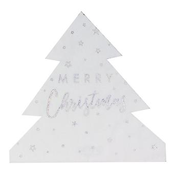 Christmas Tree Shaped Paper Napkins Silver x 16