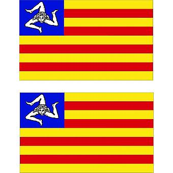 2 X Sticker Sticker Car Italy Vinyl Sicilie Flag Sicily Independent