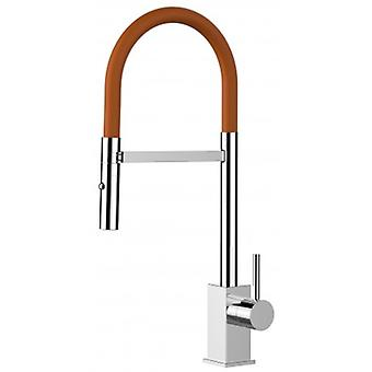 Single-lever Kitchen Sink Mixer With Orange Spout And 2 Jets Shower - 186