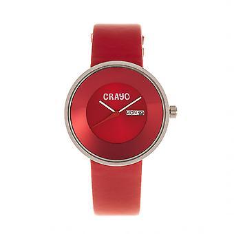 Crayo painiketta nahka bändi Unisex Watch w / päivä/päivä - punainen