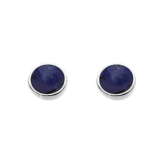 Dew Sterling Silver Round Synthetic Lapis Stud Earrings 3060LP014