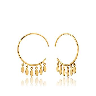 Ania Haie Silver Shiny Gold Plated Multi-Drop Hoop Earrings E008-05G