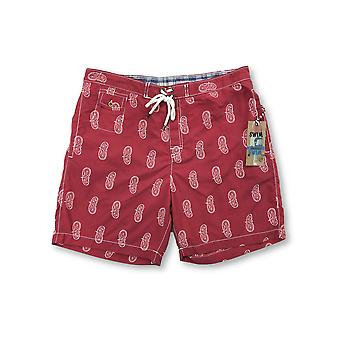 Tailor Vintage swim shorts in red/white paisley