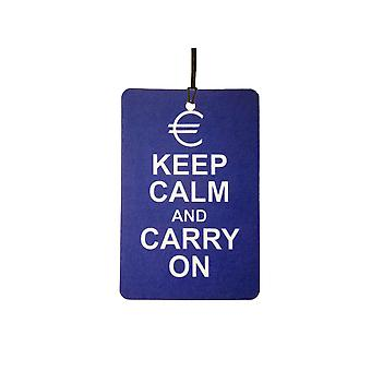 Euro Keep Calm And Carry On Auto luchtverfrisser