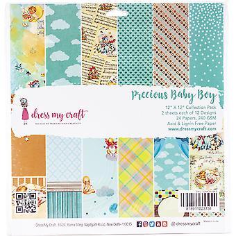"Dress My Crafts Single-Sided Paper Pad 12""X12"" 24/Pkg-Precious Baby Boy, 12 Designs/2 Each"