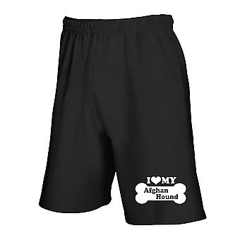 Black tracksuit shorts fun1977 i love my Afghan hound