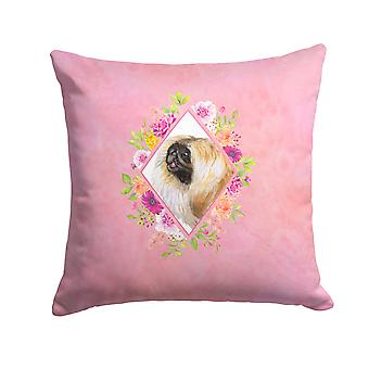 Pekingese Pink Flowers Fabric Decorative Pillow