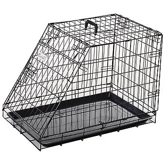 PawHut Metal Trapeze Collapsible Dog Cage Rust-Resistant Transport Box Carrier w/ Handle Removable Tray 55x48cm