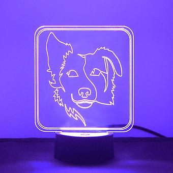 Border Collie Silhouetted Face Colour Changing LED Acrylic Light