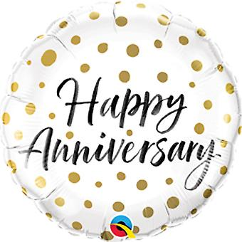 Qualatex 18 Inch Happy Anniversary Round Foil Balloon