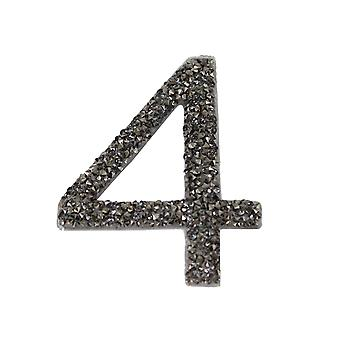 Gunmetal Glitter Number Sticker - Number 4
