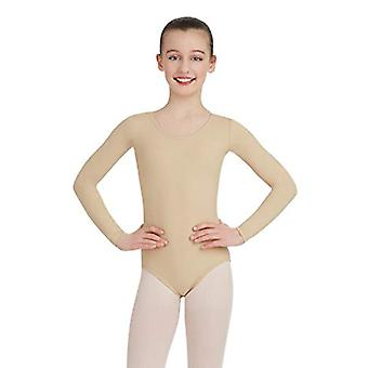 Capezio Girls' Little Team Basic Long Sleeve Leotard, Nude,, Nude, Size Medium
