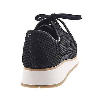 All Black Womens Wedge Mesh Low Top Lace Up Fashion Sneakers