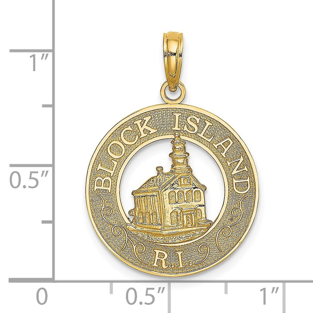 14k Gold Block Island Ri Round Frame With North Lighthouse Center Charm Pendant Necklace Jewelry Gifts for Women