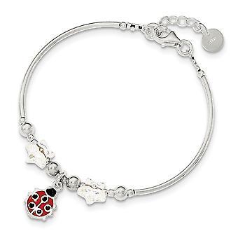 925 Sterling Silver Polished for boys or girls Enamel Ladybug Stars Crystal Bracelet  6 Inch