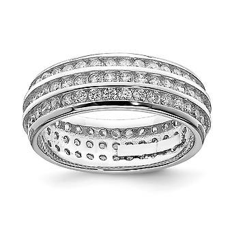 925 Sterling Silber solid poliert open zurück Rhodium vergoldet 3 Reihe Ewigkeit Ring Schmuck Geschenke für Frauen - Ring Größe: 6 t