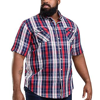 Duke D555 Mens Terell Big Tall King Size Check Button Up Shirt Top - Navy/Red