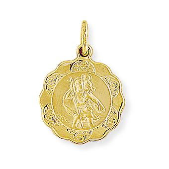 Jewelco London 9ct Gold Round Scallop St. Christopher Medallion Charm Pendant - 16mm