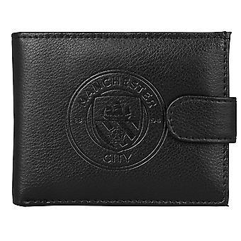 Manchester City FC virallinen jalkapallo lahja boxed nahka lompakko kohokuvioitu Crest