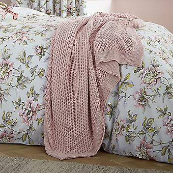 Peony Blossom Knitted Throw By V&A In Blush Pink