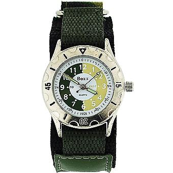 Boxx Time Teacher Green Army Camouflage Easy Fasten Strap Boys Sports Watch