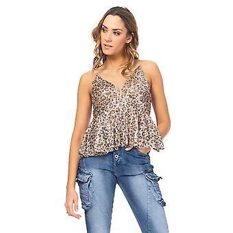 Animal Print Strap Sequin Top