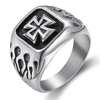 Biker knights templar square signet ring