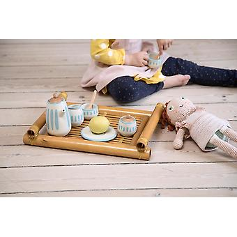 Sebra - dolls tea set - classic white/dusty teal
