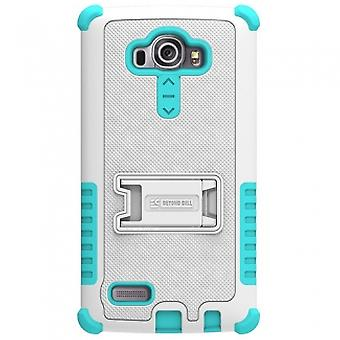 LG G4 BEYOND CELL TRI SHIELD CASE - WHITE/LIGHT BLUE