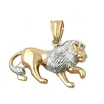 Zodiac pendants gold 375 pendant, lion matte shiny, 9 KT GOLD