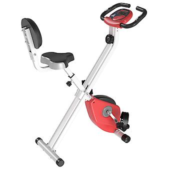 HOMCOM Manual Resistance Exercise Bike Foldable w/ LCD Monitor Adjustable Seat Heart Rate Monitors Food Straps Foot Pads Home Office Fitness Training Workout - Red