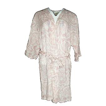 Natural Impressions Women's Robe Paisley Lightweight Shrt Slv Tie Frnt Pink