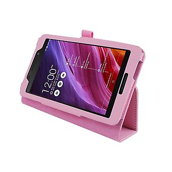 "Magnetic PU Leather Case Cover voor Asus FonePad FE375CG 7""[Pink]"