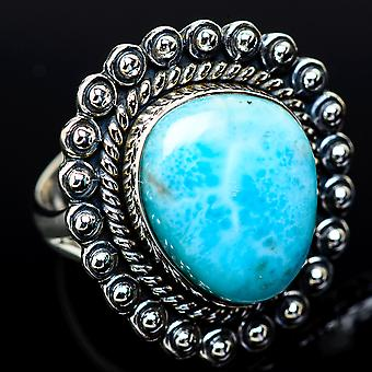 Larimar Ring Size 7 (925 Sterling Silver)  - Handmade Boho Vintage Jewelry RING11731