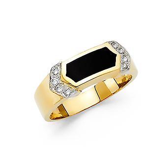 14k gult guld simulerad Onyx Ring Storlek 10 Smycken Gåvor för kvinnor - 4,9 gram