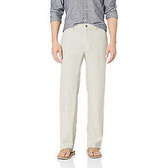 28 Palms Men's Relaxed-Fit Linen Pant with Drawstring, Natural, X-Large/32 In...
