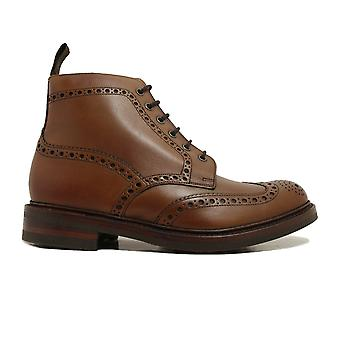 Loake Bedale Brown Burnished Calf Leather Mens Derby Boots