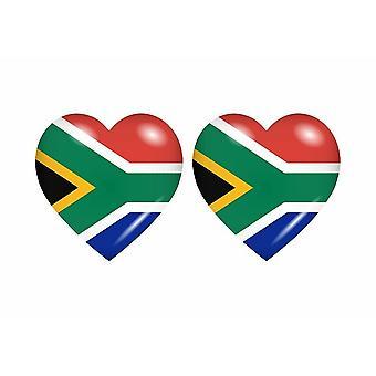 2x ملصقا ملصقا قلب العلم ZA جنوب أفريقيا